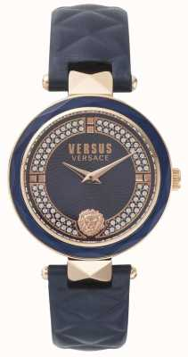 Versus Versace Womens covent tuin blauwe lederen band blauwe steen set dial SPCD280017