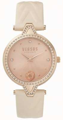 Versus Versace Womens v versus stone set roségouden wijzerplaat roze lederen band SPCI330017