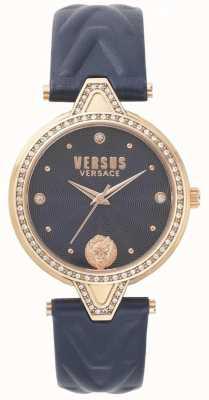 Versus Versace Womens v versus stone set blauwe wijzerplaat blauwe lederen band SPCI340017