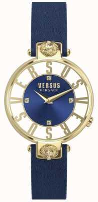 Versus Versace Dames kristenhof blauwe wijzerplaat blauwe lederen band SP49020018