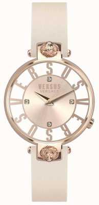 Versus Versace Dames kristenhof roségouden wijzerplaat roze lederen band SP49030018