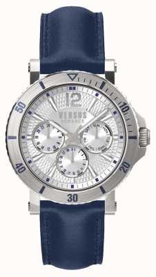Versus Versace Heren steen zilver wijzerplaat blauwe lederen band SP52010018