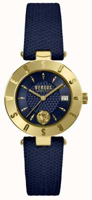 Versus Versace Blauwe wijzerplaat blauwe leren riem dameshorloge SP77220018