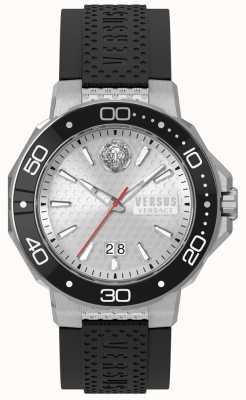 Versus Versace Mens kalk baai zilver wijzerplaat zwarte siliconen band vSP05010018