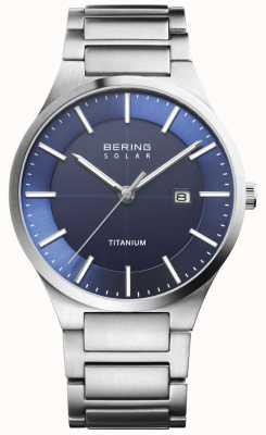 Bering Mens solar blauw gezicht zilver titanium 15239-777