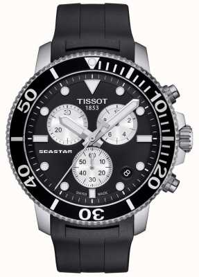 Tissot Heren seastar 1000 quartz chronograaf zwart / rubberen band T1204171705100