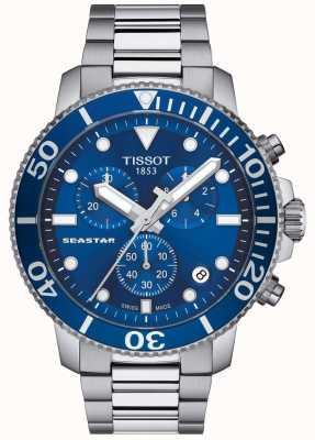 Tissot Mens seastar 1000 quartz chronograaf blauw / roestvrij staal T1204171104100