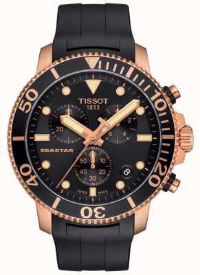 Tissot Seastar 1000 quartz chronograaf heren zwart/goud/rubber band T1204173705100