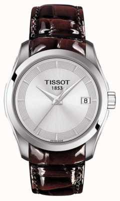 Tissot Womens couturier bruin lederen band zilveren wijzerplaat T0352101603103