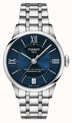 Tissot Chemin des tourelles powermatic 80 roestvrij stalen blauwe wijzerplaat T0992071104800