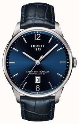 Tissot Mens chemin des tourelles blue lederen band blauwe wijzerplaat T0994071604700