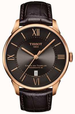 Tissot Heren chemin des tourelles bruin lederen band rosé gouden kast T0994073644800