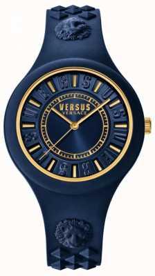 Versus Versace Blauwe siliconen wijzerplaat met vuureiland blauw SOQ090016