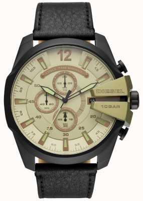 Diesel Mens mega chief, zwart lederen band horloge DZ4495