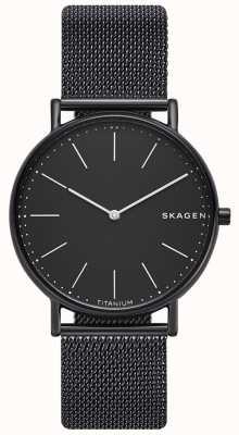Skagen Mens signatur roestvrij staal zwarte mesh armband zwarte wijzerplaat SKW6484