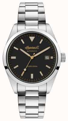 Ingersoll Mens de afhankelijkheid roestvrij stalen armband zwarte wijzerplaat I05501