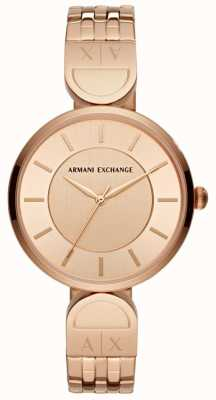 Armani Exchange Dames jurk horloge rose goud AX5328