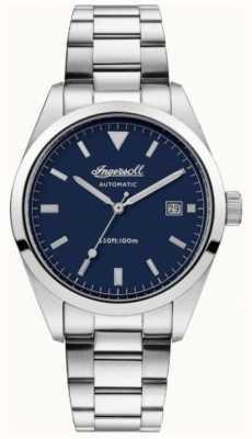 Ingersoll Mens de afhankelijkheid roestvrij stalen armband blauwe wijzerplaat I05502