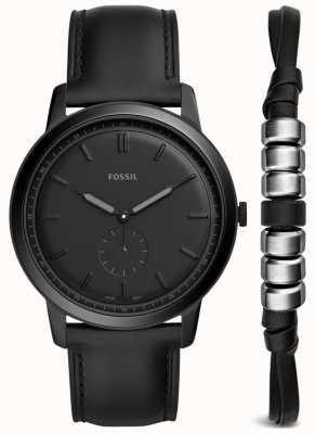 Fossil Mens minimalistische horloge geschenk set zwart lederen band FS5500SET