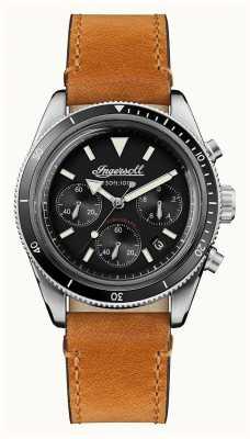 Ingersoll De scovill automatische chronograaf bruine leren riem I06202