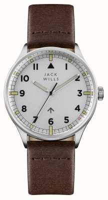 Jack Wills Heren camperdown zilverkleurige wijzerplaat lederen band JW001BRSS