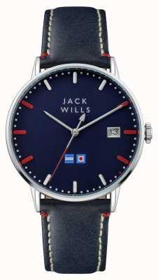 Jack Wills Batson blauwe wijzerplaat blauwe leren riem heren JW002BLSS