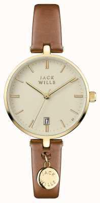 Jack Wills Dames bennett crème wijzerplaat bruine lederen band JW005CMGD