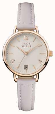 Jack Wills Dames wijzerplaat creme wijzerplaat roze leer JW006PKRS