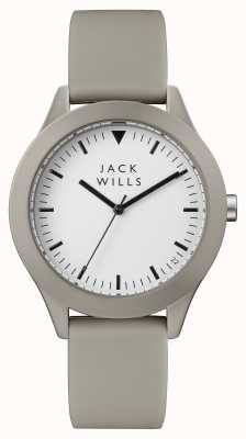 Jack Wills Heren unie witte wijzerplaat grijze siliconen band JW009WHGY