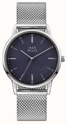 Jack Wills Heren fortescue blauwe wijzerplaat roestvrij stalen mesh armband JW011SSBL