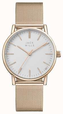 Jack Wills Womens berry witte wijzerplaat rose goud pvd mesh armband JW013RSRS