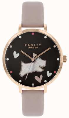 Radley Dames grote parelmoer hond zwarte wijzerplaat RY2678