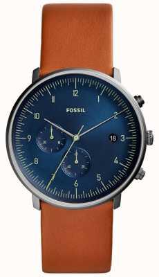 Fossil Herenjacht horloge bruine lederen band blauwe wijzerplaat FS5486
