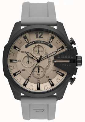 Diesel Mens mega chief horloge grijze plastic band grijze wijzerplaat DZ4496