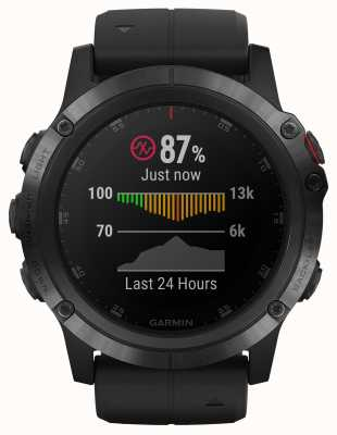 Garmin Fenix 5x plus saffier zwarte rubberen band 010-01989-01