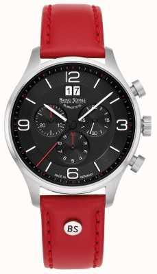 Bruno Sohnle Padua chronograaf rode leren riem 17-13196-723