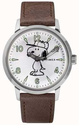 Timex Snoopy welton zilveren wijzerplaat bruin lederen band TW2R94900