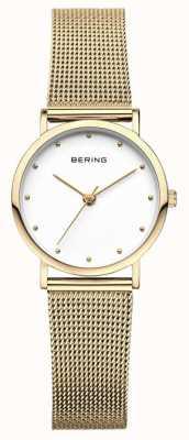 Bering Dames klassiek horloge goud mesh 13426-334