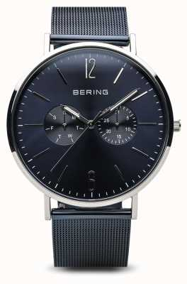 Bering Klassiek | gepolijst zilver | dag datum blauw 14240-303
