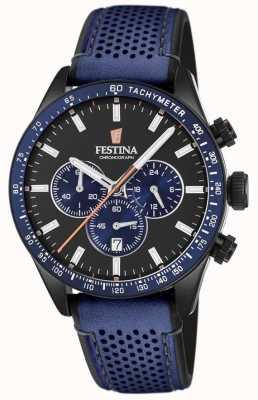 Festina Heren chronograaf zwarte wijzerplaat blauwe lederen band F20359/2
