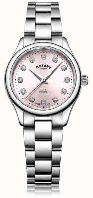 Rotary Dames oxford diamantroze wijzerplaat roestvrij stalen armband LB05092/07/D