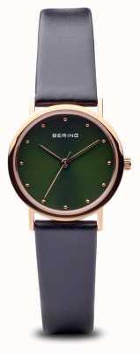 Bering Klassiek | gepolijste rosé gouden zwarte band groene wijzerplaat 13426-469
