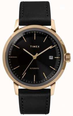 Timex Marlin automatisch herenhorloge met zwarte leren band TW2T22800