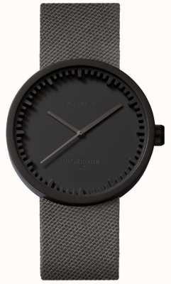 Leff Amsterdam Tube horloge d38 | cordura mat zwart | grijze riem LT71015