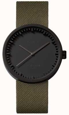Leff Amsterdam Tube horloge d38 cordura matzwarte kast groene band LT71014