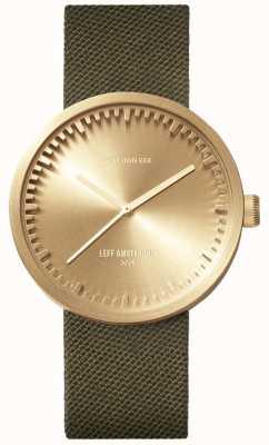 Leff Amsterdam Tube horloge d38 | cordura messing | groene riem LT71024