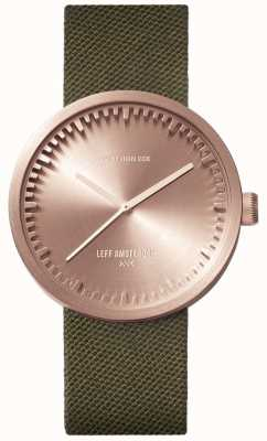 Leff Amsterdam Tube horloge d38 | cordura rose goud | groene riem LT71034