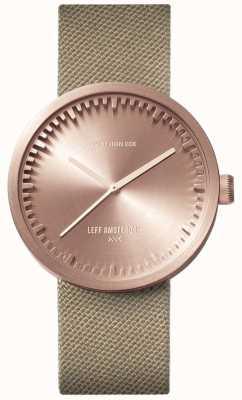 Leff Amsterdam Tube horloge d38 | cordura rose goud | zandband LT71033