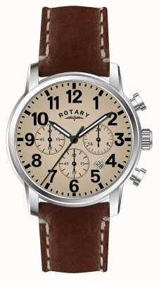 Rotary Heren chronograaf kwarts lederen band witte wijzerplaat GS00430/31