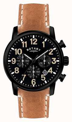 Rotary Heren chronograaf quartz lederen band zwarte wijzerplaat GS00433/04